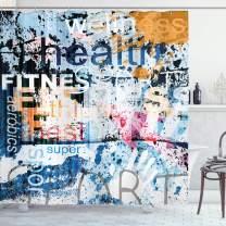"Ambesonne Fitness Shower Curtain, Health Wellness Aerobics Sports Words Illustration on Grunge Vintage Style Backdrop, Cloth Fabric Bathroom Decor Set with Hooks, 75"" Long, Blue Black"