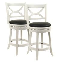Boraam Florence Counter Height Stool, 24-Inch, Distressed White, 2-Pack
