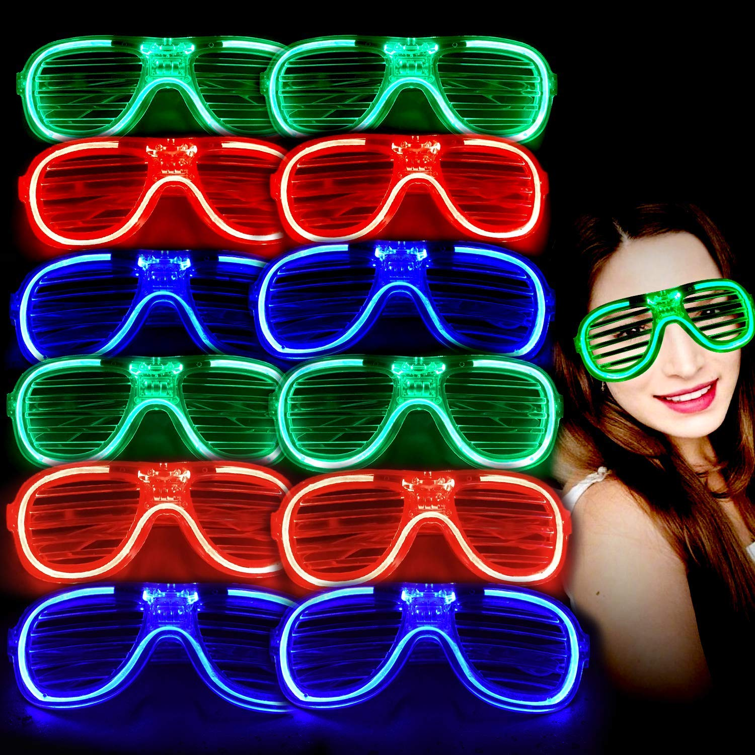 M.best Light Up Glow Glasses, 12 Pack Glow in The Dark LED Shutter Shades Sunglasses Party Favors for Kids or Adults ( B Style)