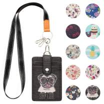 Lanyard ID Badge Holder Case PU Leather Credit Card Wallet with 1 ID Window & 2 Card Slots & 2 Key Chains and Detachable Neck Strap for ID Driver Licence & Women Teen Kids Girls Office (Cute Dog)