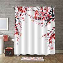 """MitoVilla Red Plum Floral Branches Shower Curtain Set with Hooks, Asian Traditonal Watercolor Plum Blossom Painting Home Decor for Women and Girls Gifts, Red, Black, White, 72"""" W x 72"""" L Standard"""
