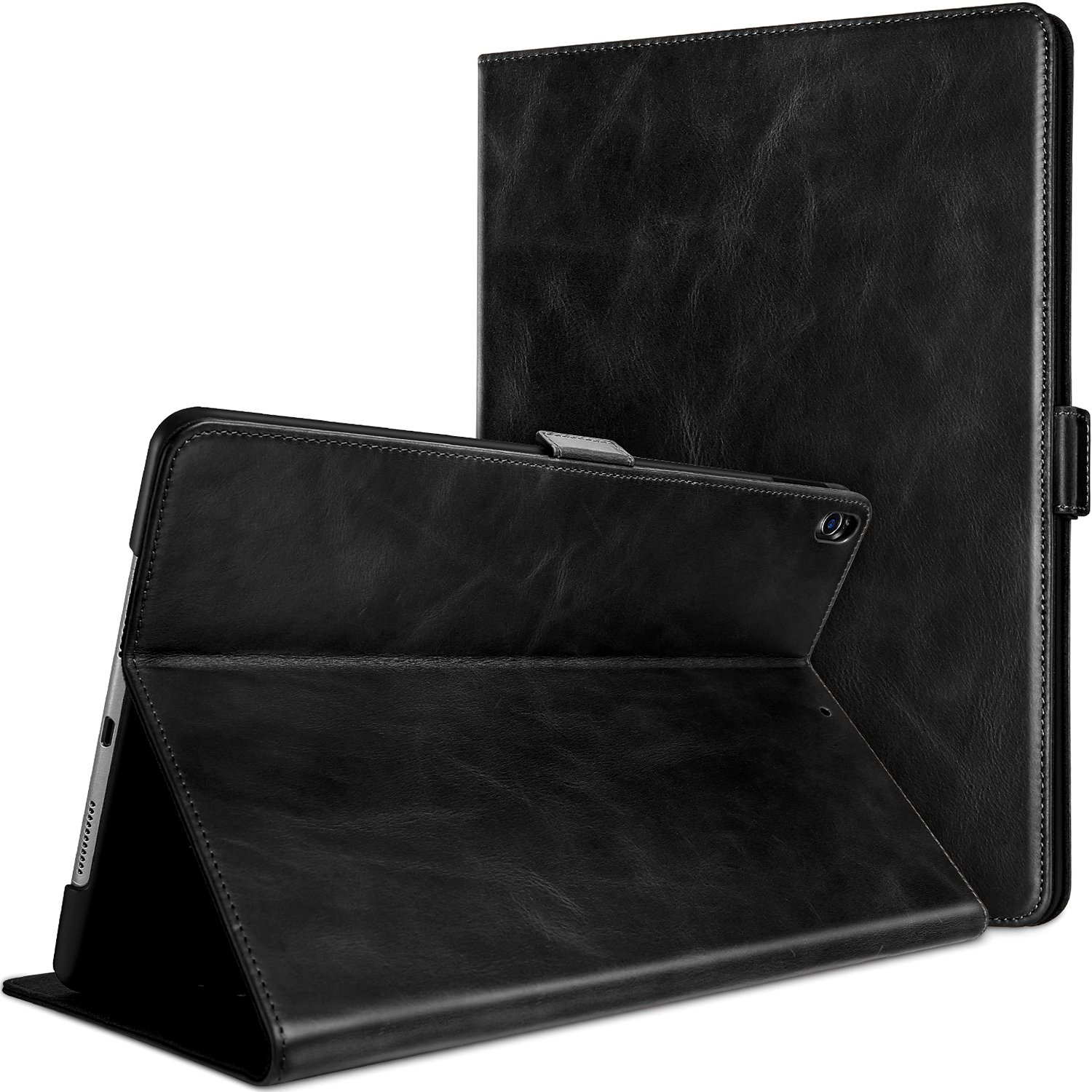 ProCase iPad Air (3rd Gen) 10.5 2019 / iPad Pro 10.5 2017 Case, Vintage Genuine Leather Case Slim Fit Stand Folio Cover, with Multiple Viewing Angles, Auto Sleep/Wake Feature –Black