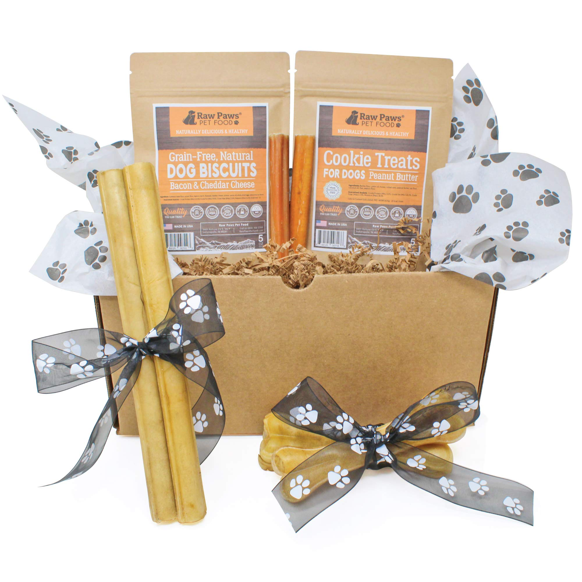 Raw Paws Pet Dog Birthday Treats - Dog Gift Box - Dog Chews Treats Variety Pack - Birthday Gifts Dogs - Dog Gift Basket - Natural Rawhide Chews, Bully Sticks, Biscuits & Cookies