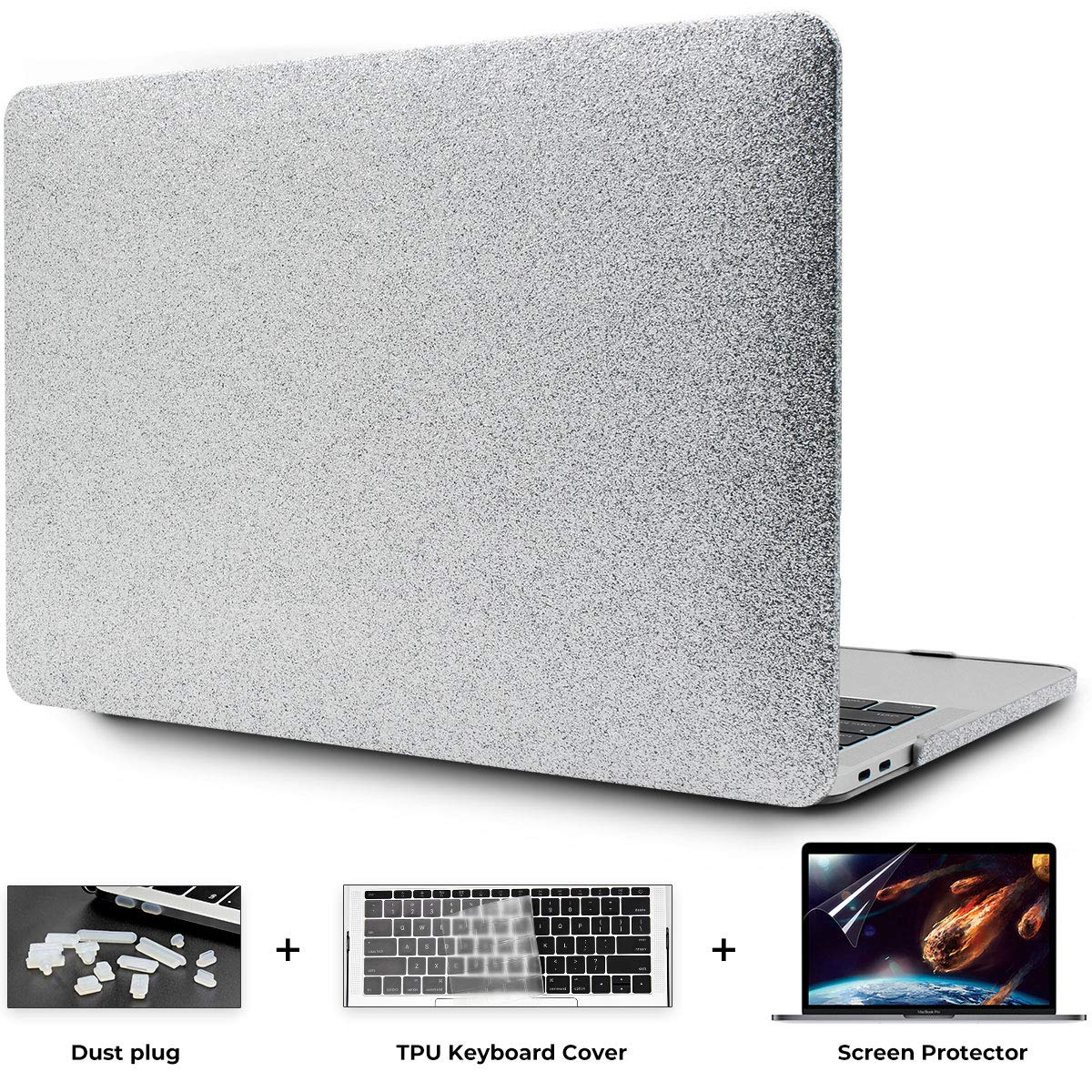 OneGET MacBook Air 13 Inch Case 2018 Laptop Case MacBook Air 13 Release A1932 Fashion Computer Case Air 13 Hard Shell Glitter Bling PU MacBook Air 13 with Touch ID(Glitter Silver)