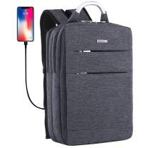 YOUPECK Slim Laptop Backpack, Business Computer Backpack with USB Charging Port for Men Women, Anti Theft Travel daypack Student Backpack,Water Resistant School Bookbag Fit 15.6 inch Laptop - Grey
