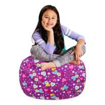 "Posh Stuffable Kids Stuffed Animal Storage Bean Bag Chair Cover - Childrens Toy Organizer, Medium-27"" - Canvas Multi-Colored Hearts on Purple"