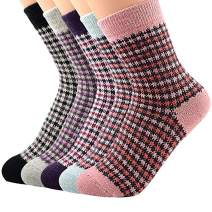 Century Star Pack of 5 Womens Vintage Winter Soft Warm Thick Cold Weather Knit Wool Casual Cozy Crew Socks