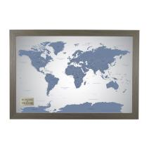 Push Pin Travel Maps Personalized Blue Ice World with Barnwood Gray Frame and Pins - 27.5 inches x 39.5 inches