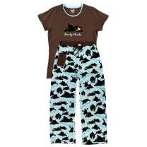 Lazy One Women's Pajama Set, Short Sleeves with Cute Prints, Fitted