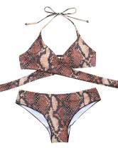 OMKAGI Women Wrap Swimsuit 2 Piece Cheeky Scrunch Butt Brazilian Bikini Bottoms
