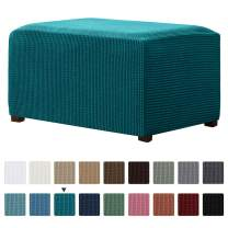 CHUN YI Stretch Ottoman Slipcover Rectangle Storage Stool Cover Furniture Protector with Elastic Bottom, Checks Spandex Jacquard Fabric (X-Large, Teal)