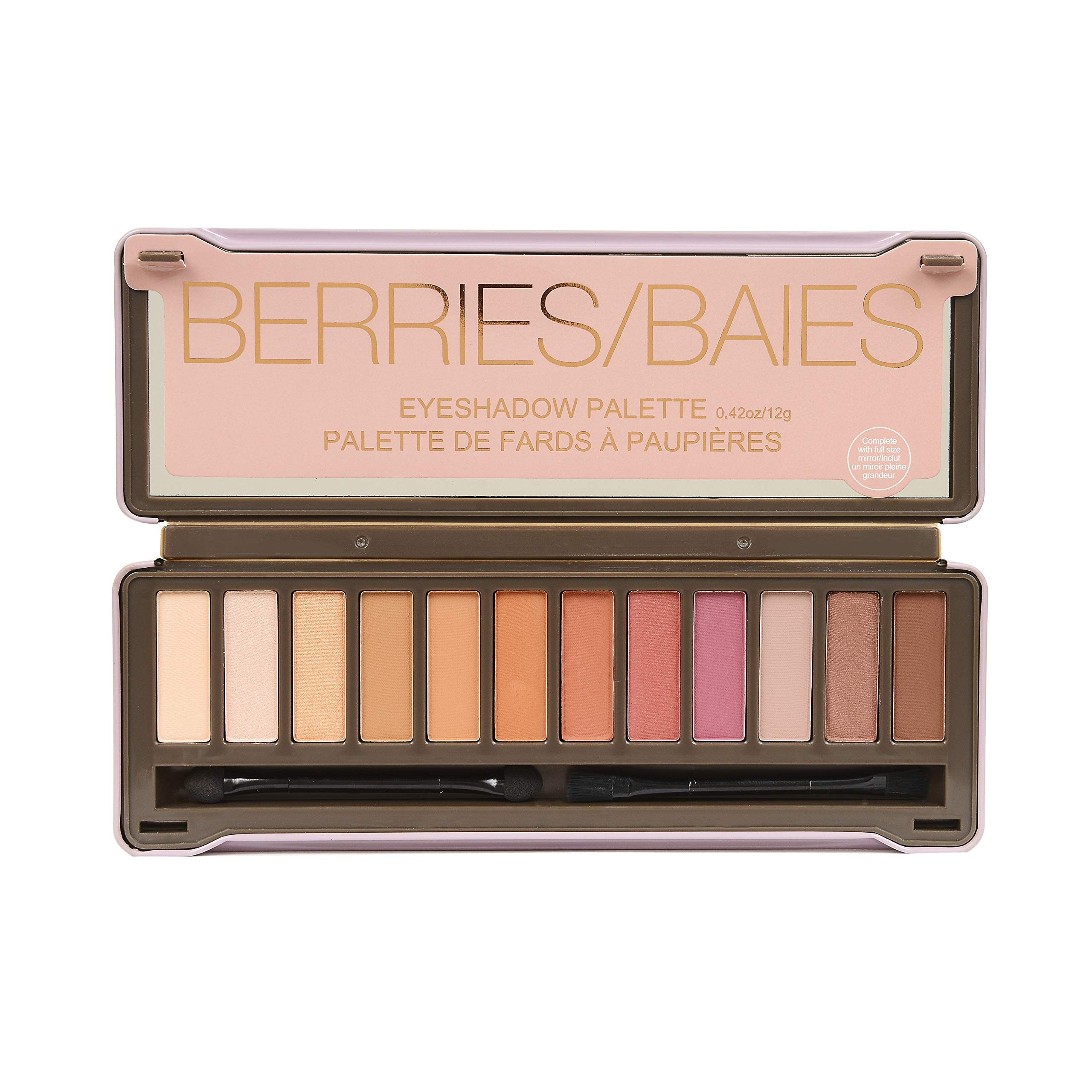 BYS Berries Eyeshadow Palette Tin (with French Translation) with Mirror Double Ended Applicator and Blender Highly Pigmented 12 Matte & Metallic Shades