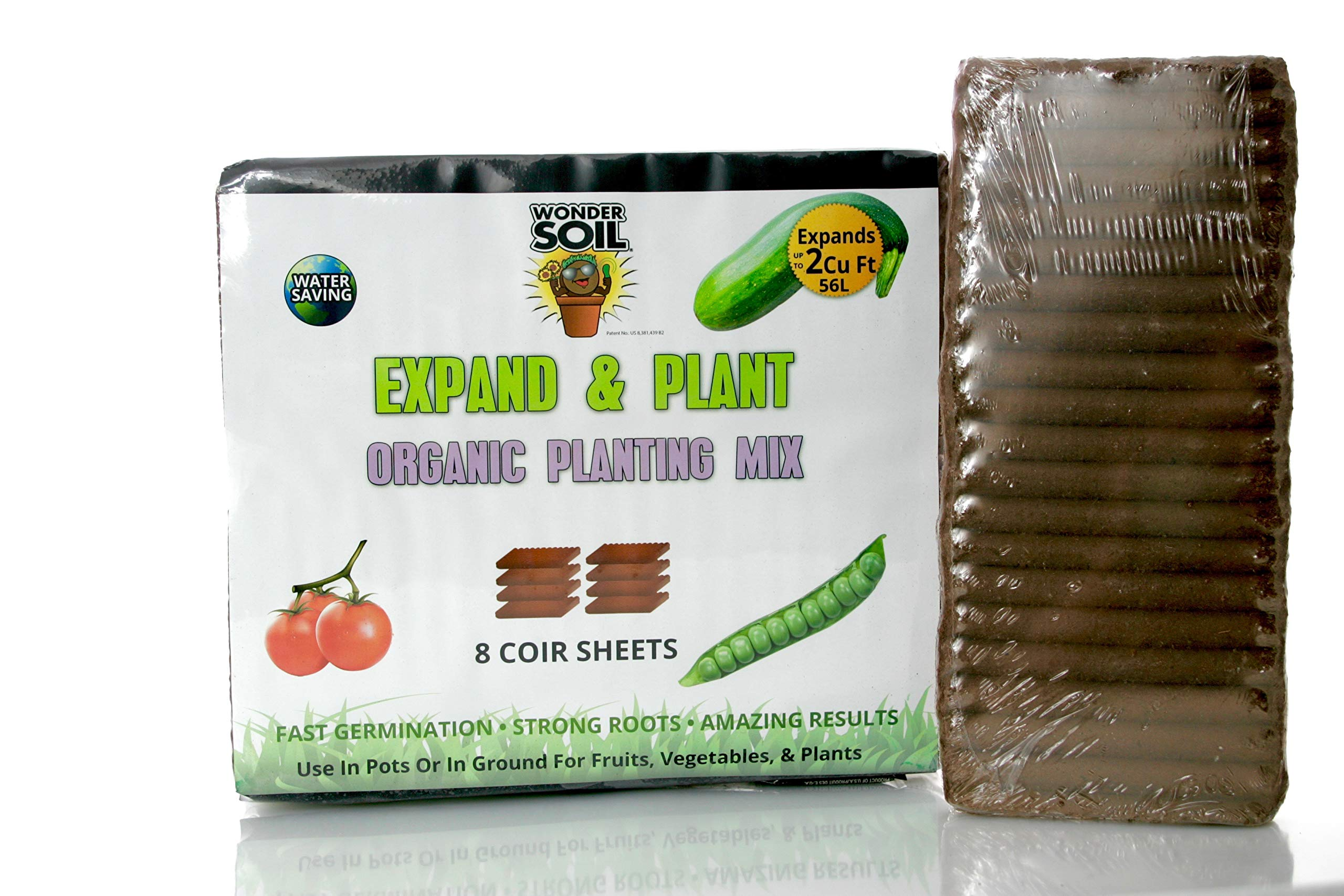 Wonder Soil Organic Expanding Coco Coir Living Soil Sheets - 8 Sheets Expand to 2 Cubic Feet of Nutrient Rich Soil – Seed Starting, Microgreens, Flowers, Herbs, Gardening – OMRI Ingredients