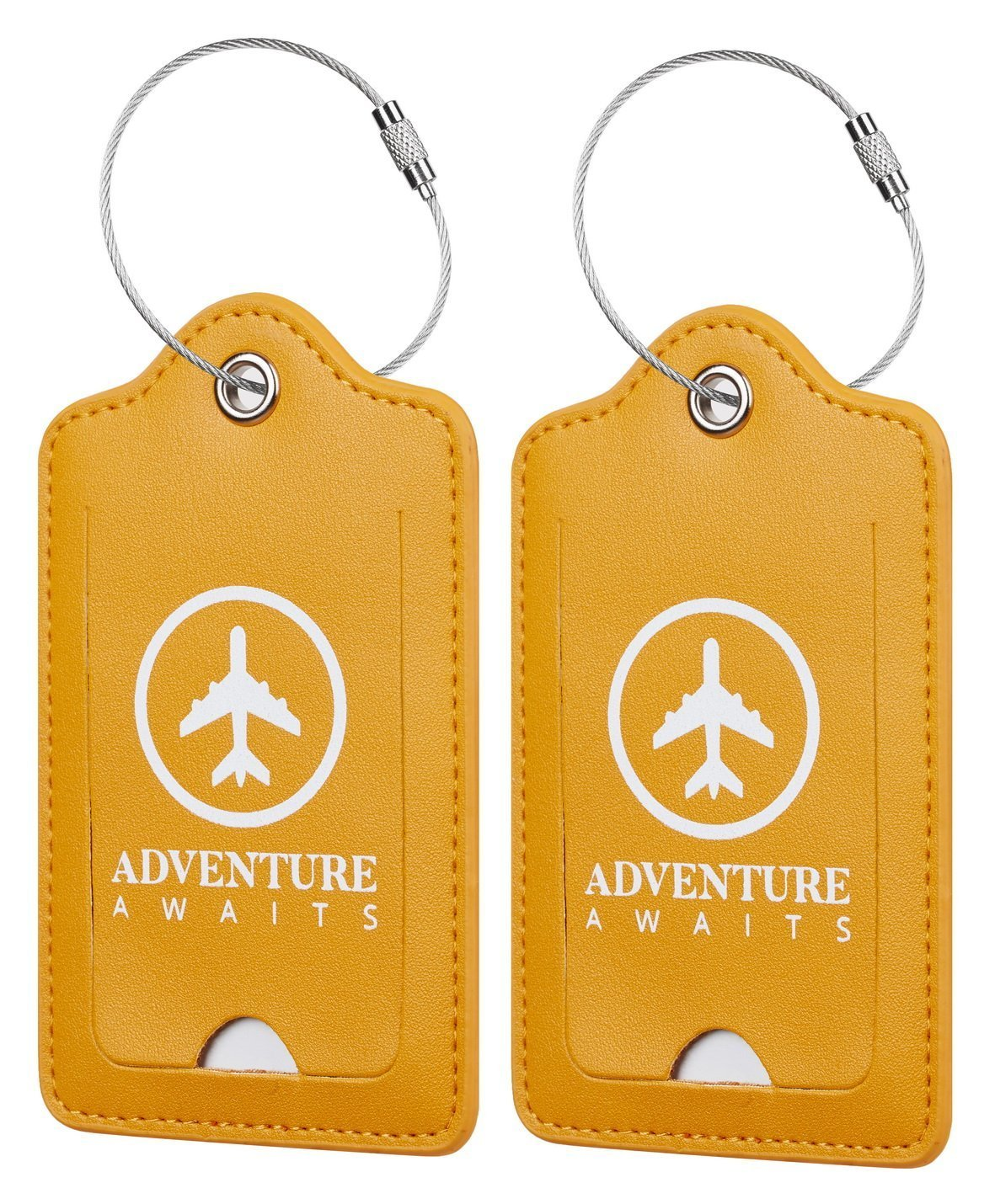 Chelmon Leather Luggage Tags Baggage Bag Instrument Tag 2 Pcs Set (Yellow Glaze 3167)