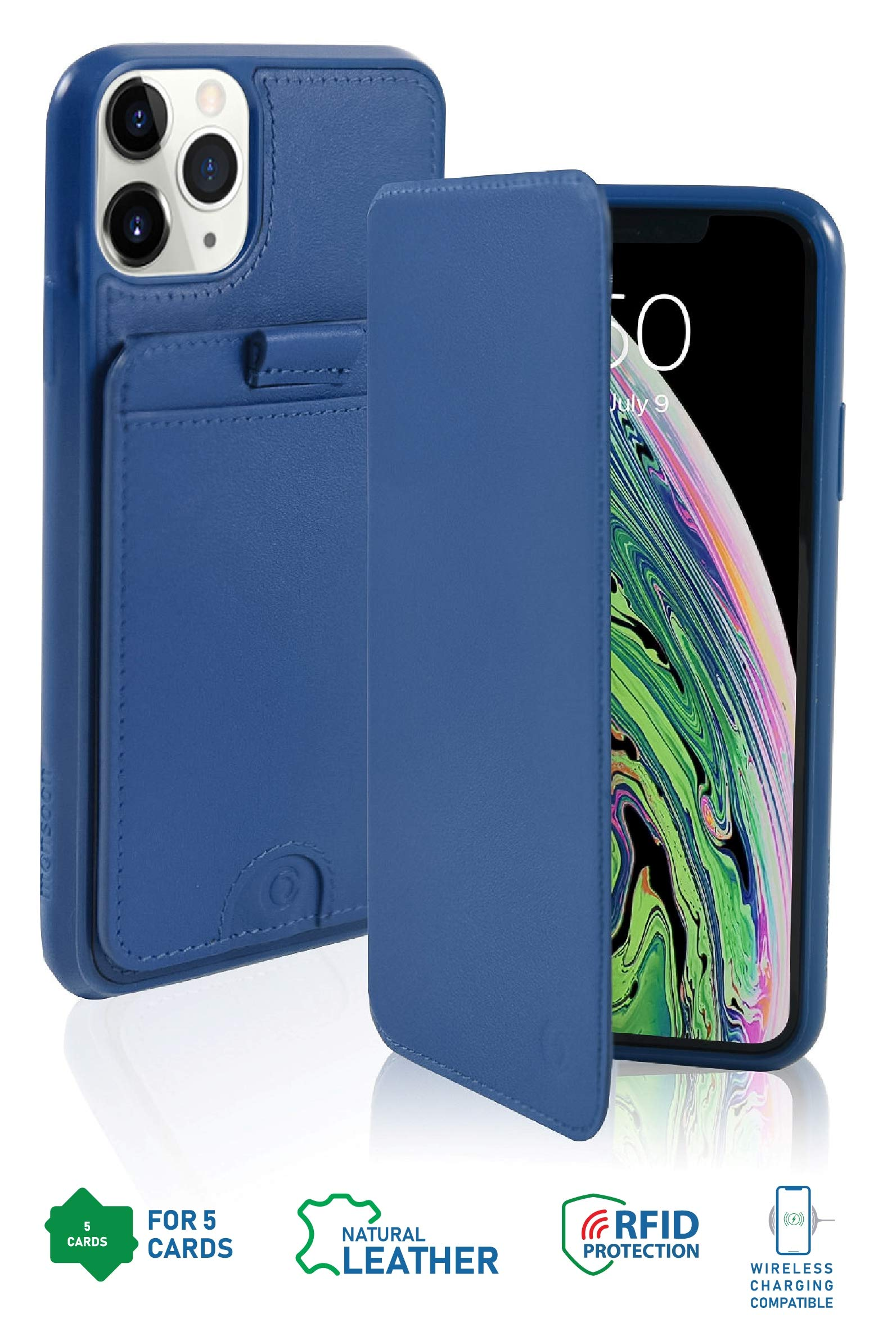 monsoon [Raindrop] Genuine Leather Wallet Folio Case with Removable Slim Wallet for iPhone 11 Pro MAX - Holds 5 Cards   RFID   Stand   Wireless Charging OR Magnetic Car Mount Compatible - Blue