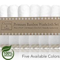 Channing & Yates Premium Baby Washcloths - (6 Pack) Certified Organic Baby Wash Cloths Soft Bamboo Face Towels - 10 x 10in - Bath Washcloths Eczema - Adult Washcloths (Beige/White)