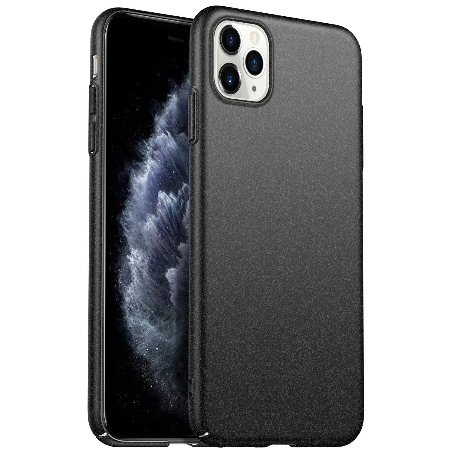 Kqimi Case for iPhone 11 Pro Max [Ultra-Thin] Hard Plastic PC Premium Material Full Protection Cover for iPhone 11 Pro Max 6.5 inch (Gravel Black)