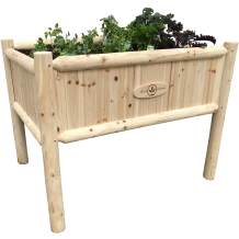 Boldly Growing Wooden Raised Planter Box with Legs - Large Elevated Outdoor Patio Cedar Garden Bed Kit to Grow Herbs and Vegetables - Unmatched Strength Lasts Years, Natural Rot-Resistant Wood (Tall)