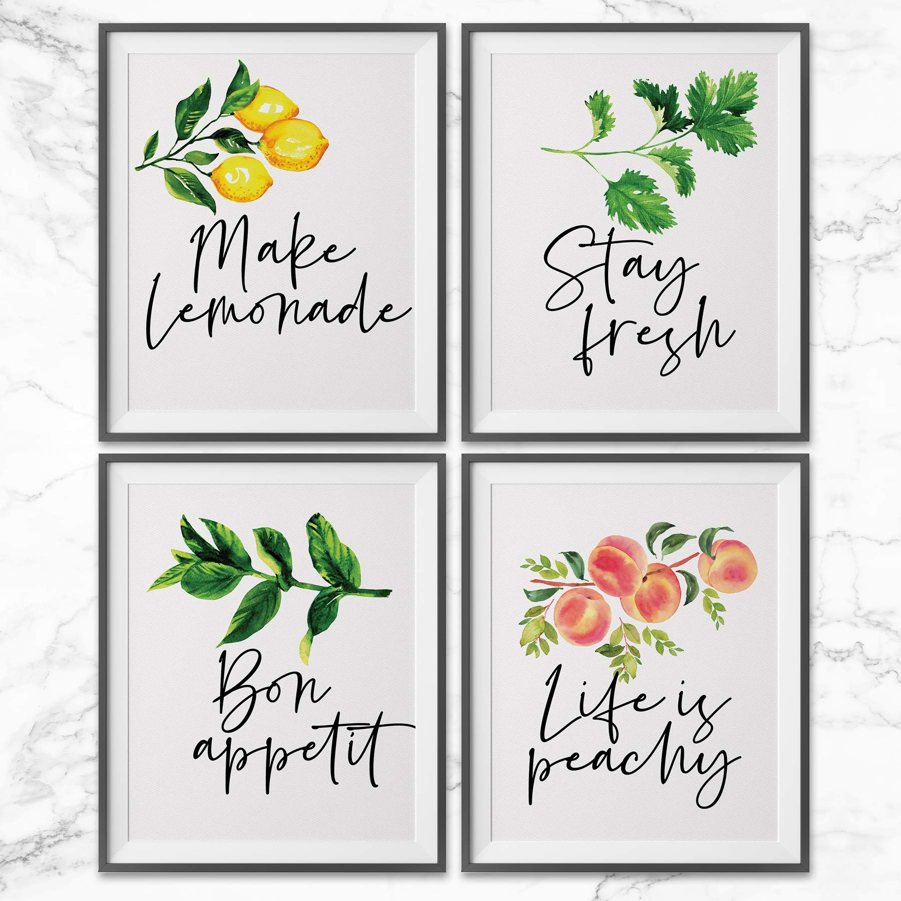 Pillow and Toast Kitchen Wall Decor Art Prints, Botanical Decorations Above Cabinets, Set of 4 Prints 8x10