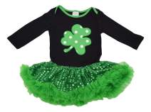Unique Baby Girls St. Patrick's Day Clover Dress with Tutu