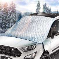 Zintou Car Windshield Snow Cover, Car Snow Covers, Extra Large & Thick, Size 187x125cm (74x 50 Inches), 5-Layer Protection,Frost Ice Cover Sunshade,Fits Any Car Truck SUV Van