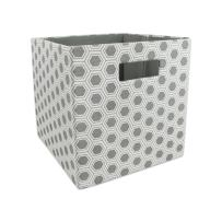 "DII Hard Sided Collapsible Fabric Storage Container for Nursery, Offices, & Home Organization, (11x11x11"") - Honeycomb Gray"