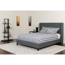 Flash Furniture Riverdale Queen Size Tufted Upholstered Platform Bed in Dark Gray Fabric with Pocket Spring Mattress