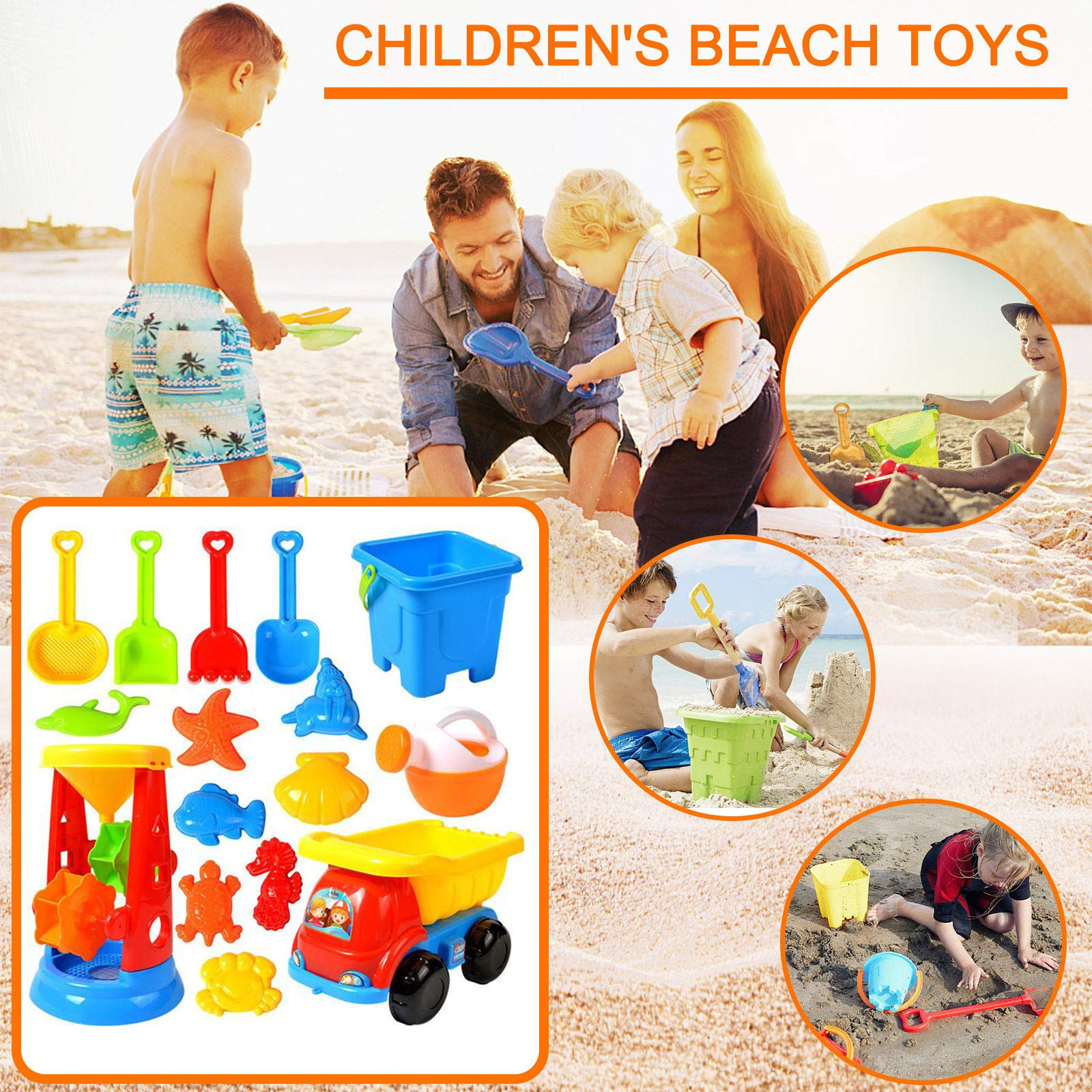 Beach Sand Toys for Kids, Toddlers Beach Toy Sand Set Summer Outdoor Toy Sandpit Learning Playing Toy Gift Set for Children's (16 Piece)