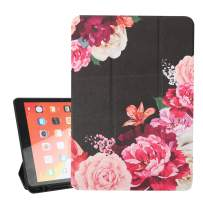 Hepix Purple Flowers iPad 10.2 Case, Trifold Smart Case for iPad 7th Generation 2019 with Auto Wake/Sleep, Soft Silicone Rubber Stand Back Cover with Pencil Holder Shock Absorption