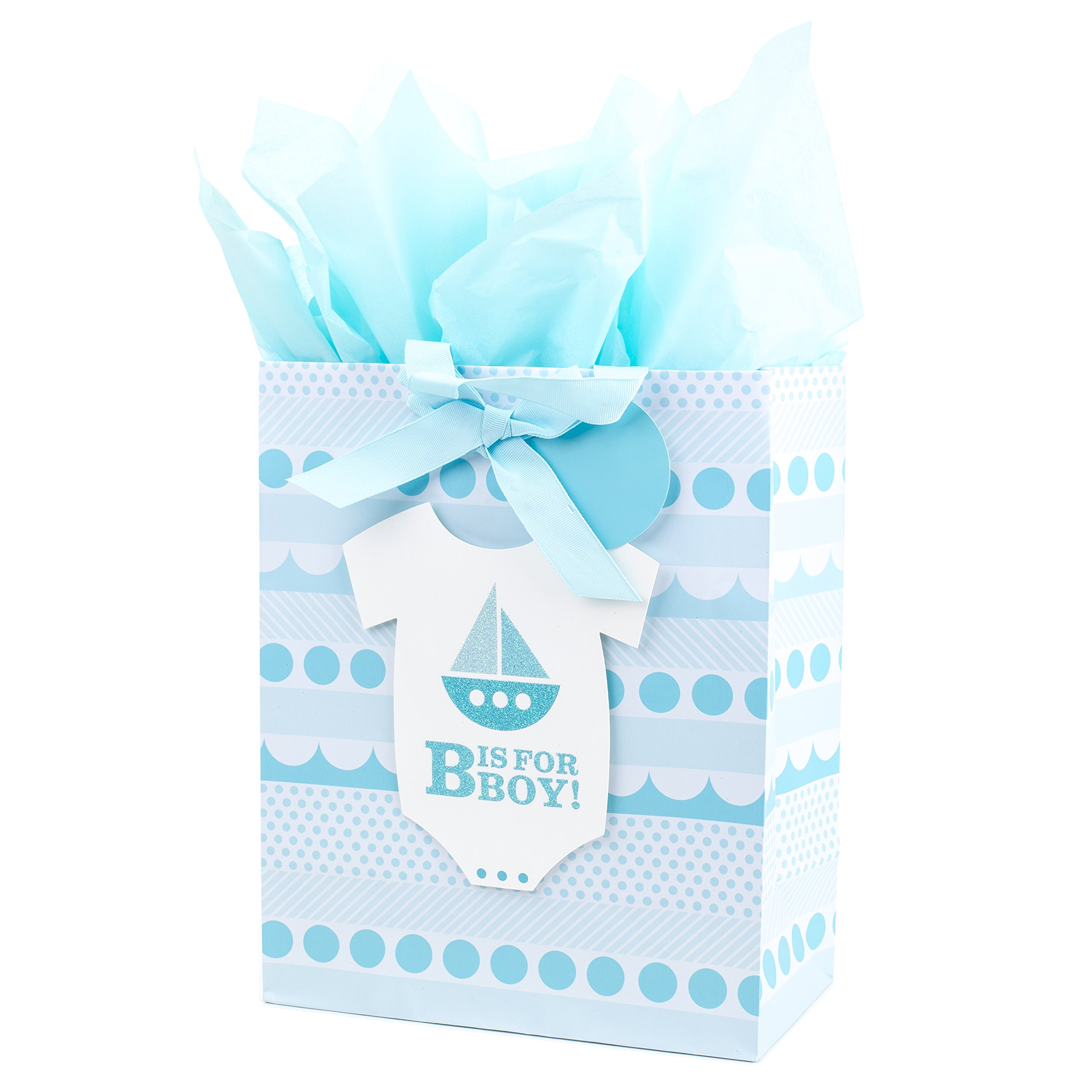 """Hallmark 13"""" Large Gift Bag with Tissue Paper for Baby Showers, New Moms and More (B is for Boy, Blue)"""