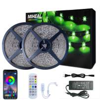 Miheal 131.2ft/40M Led Light Strips Music Sync Color Changing RGB Led Strip Built-in Mic,Bluetooth led Lights App Control with Remote,5050 RGB Rope Lights for Bedroom, Home Party Christmas (131.2ft)…