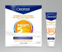 Clearasil Stubborn Acne Control 5in1 Spot Treatment Cream, Maximum Strength, Benzoyl Peroxide Acne Medication, Fights Blocked Pores, Pimple Size, Excess Oil, Acne Marks & Blackheads, 1 oz (Pack of 3)