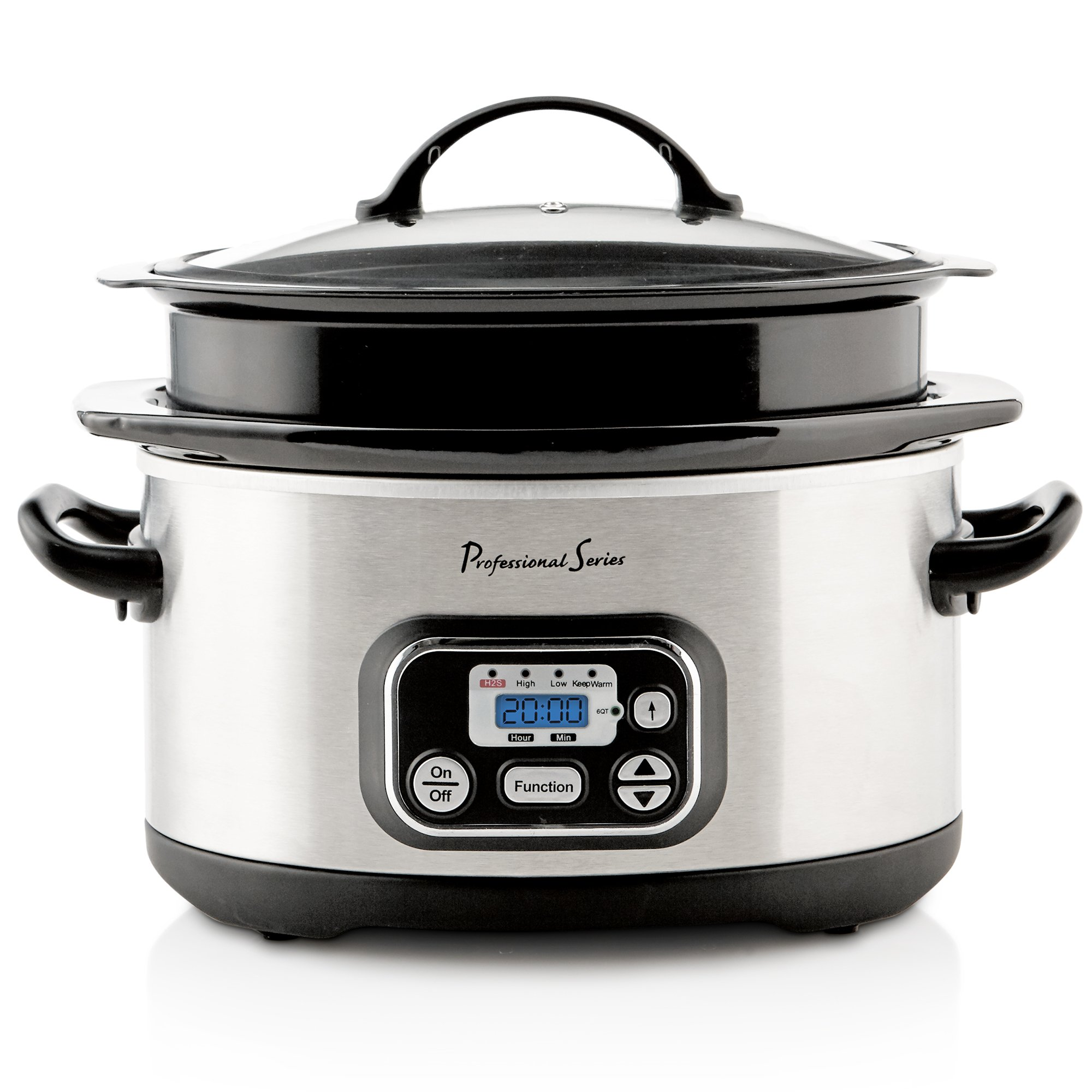 Continental Electric PS75239 Slow Cooker, 4-6 Quart Expandable, Stainless Steel