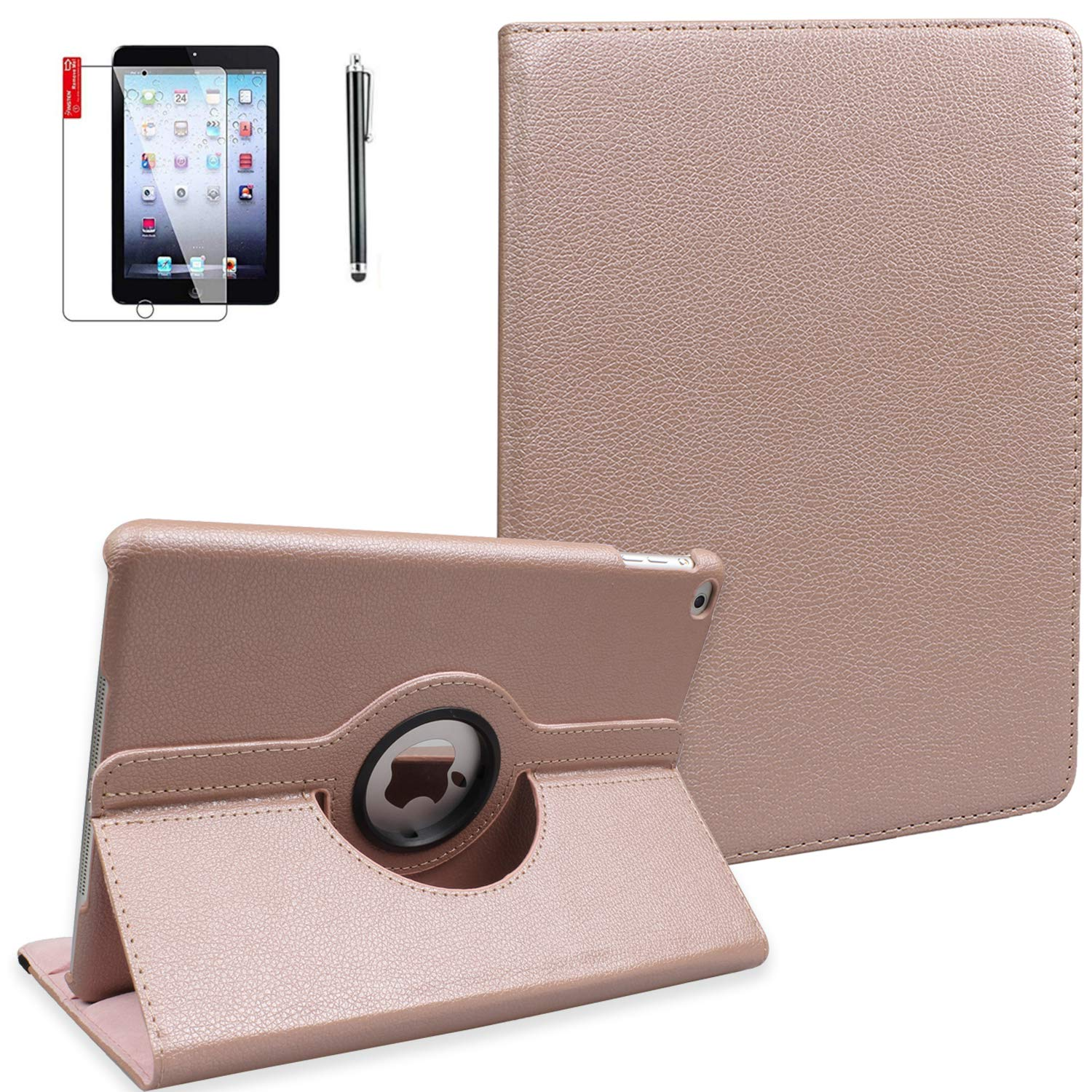 iPad 2 3 4 Case Smart Cover with Screen Protector and Stylus - iPad 4th Generation Case - Model A1395 A1416 A1458 - 360 Degree Rotating Stand, Auto Sleep Wake, Shockproof - MD510LL/A (Rose Golden)