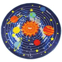"HUAHOO Blue Solar System Kids Area Rug Educational Learning Carpet Fun Rug Children Area Rug for Playroom & Nursery - Non Skid Gel Backing (55"" Round, Round Stars)"