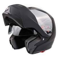 Typhoon G339 Modular Motorcycle Helmet DOT Dual Visor Full Face Flip-up - Matte Black Small