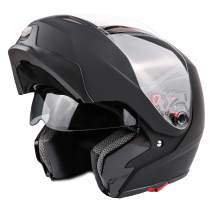 Typhoon G339 Modular Motorcycle Helmet DOT Dual Visor Full Face Flip-up - Matte Black Small