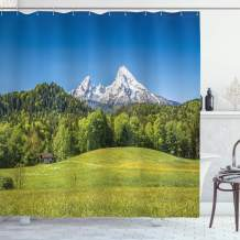 "Ambesonne Germany Shower Curtain, Bavarian Alps Village of Berchtesgaden and Watzmann Germany, Cloth Fabric Bathroom Decor Set with Hooks, 84"" Long Extra, Blue Green"