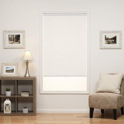 DEZ Furnishings QCWT464720 Cordless Light Filtering Cellular Shade, 46.5W x 72H Inches, White