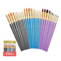 ULG Acrylic Paint Brushes Set 3 Packs /30 Pieces Watercolor Brush Set Paint Brush for Kids Nylon Hair Paintb Rushes for Acrylic Painting Oil Watercolor Face Nail Body Art Craft