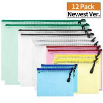 Zannaki 12 Pack Thicken Plastic Mesh Zipper Pouch Zipper File Bags File Holders with Grid Travel Pouch, 6 Sizes and 6 Colors