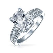 925 Sterling Silver Brilliant Cut AAA CZ Oval Round Solitaire Engagement Promise Ring For Women Cubic Zirconia Band