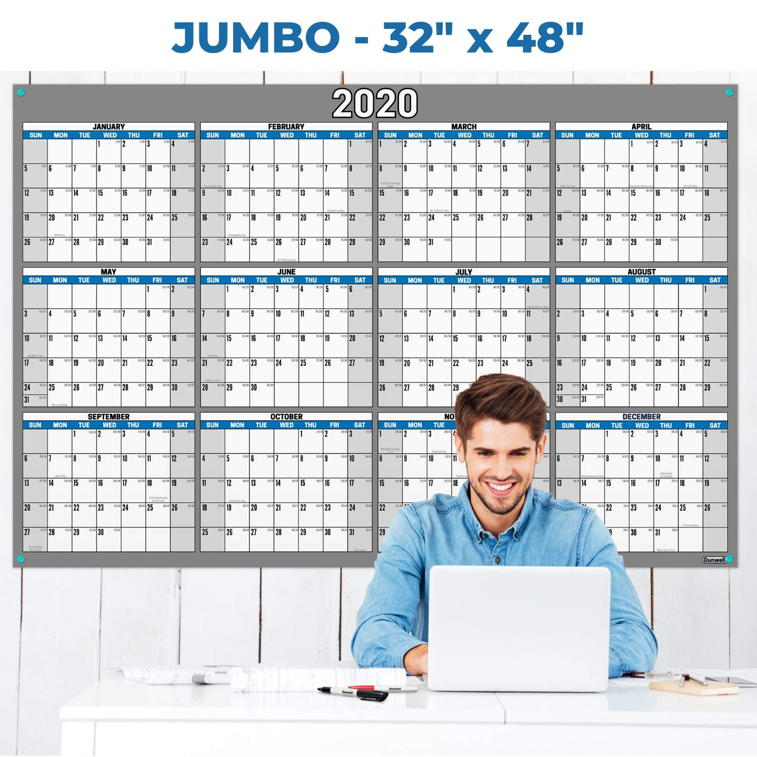 Jumbo 32x48 Erasable Undated Monthly Weekly Planner (Blue) with BONUS 2020 Horizontal Vertical Reversible Large Calendar, Laminated Dry Wet Erase Poster Calendars by Dunwell, Shipped Rolled Not Folded