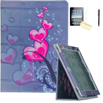 iPad Air Case, iPad Air 2 Case - JYtrend (R) Folio Stand Magnetic Smart Cover for Apple iPad Air(2013 Release)/Air 2(2014 Release) with Auto Wake/Sleep (Pink Heart)