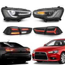 MOSTPLUS LED Headlights Halo Assembly Front Lamp & Tail Lights for Mitsubishi EVO 10 2008-2017