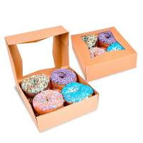 """Surf City Supplies Brown Bakery Boxes with Window 8""""X8""""X2.5"""" 