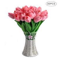 CCINEE 30pcs Real Touch Tulips Pink PU Tulips Artificial Flowers for Wedding Home Centerpiece Decoration
