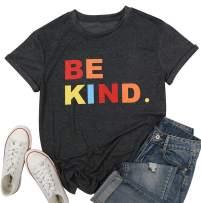 Be Kind Shirt Women Teacher T-Shirt Cute Colorful Tee Inspirational Blouse Summer Comfy Clothes