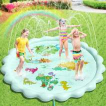 """Peradix Splash Pad Water Sprinklers Play Mat (79"""") for Kids Toddlers Outside Toys, Baby Infant Wadding Pool, Kiddie Baby Pool, Outdoor Backyard Fountain Play Mat for 3-12 Year Old Boys Girls"""