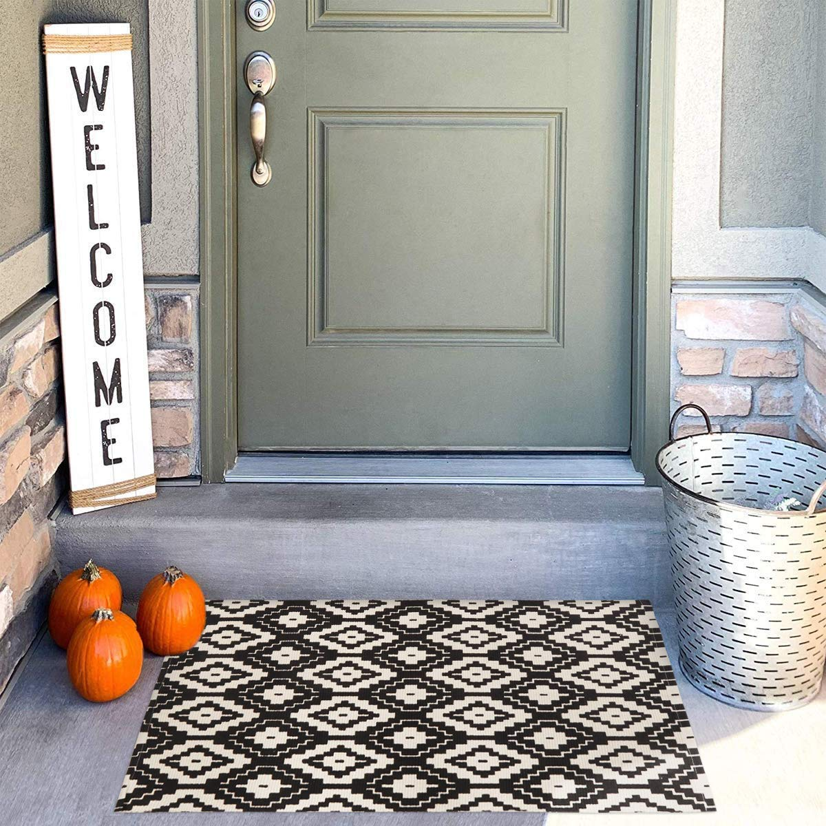 Uphome Indoor Outdoor Doormat 2'x3' Boho Cotton Area Rug Hand Woven Moroccan Geometric Throw Rugs Machine Washable Farmhouse Rug Carpet for Entryway Porch Living Room Laundry Kitchen,Black